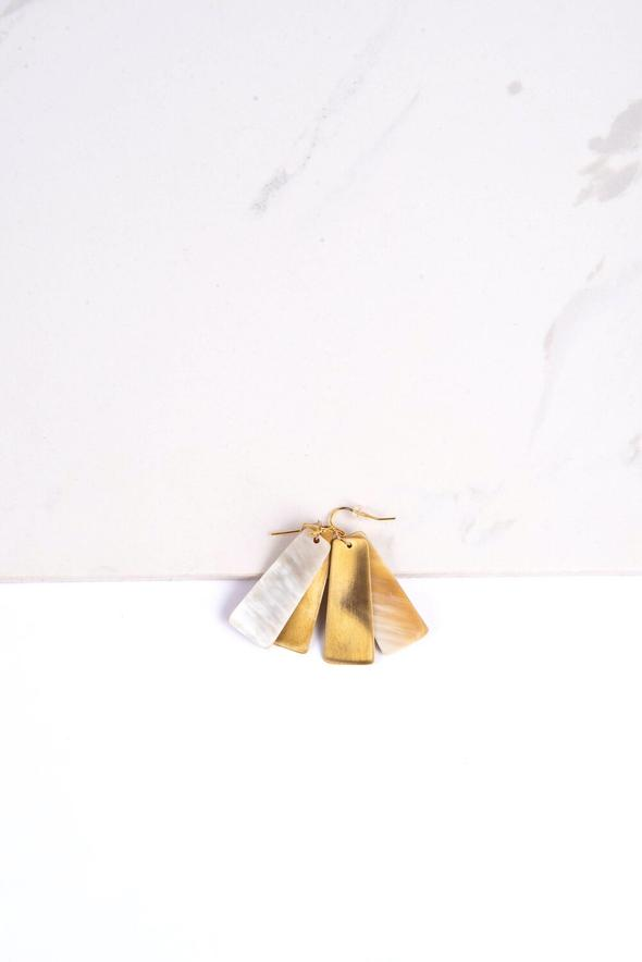 Dangling 1.5 inches stone earrings in light color on a white background