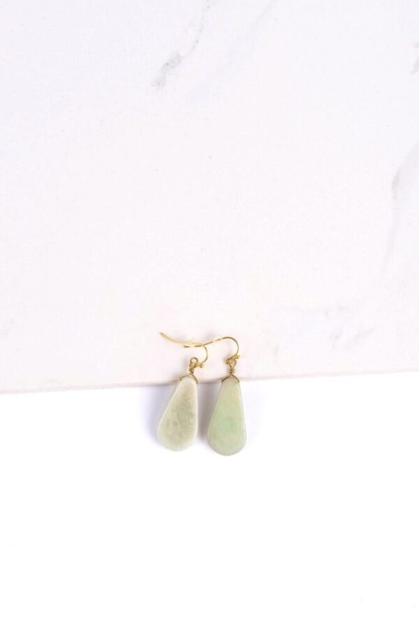 Opal Gray Contemporary Tagua Stone Earrings ethically-made with gold wire in white background.