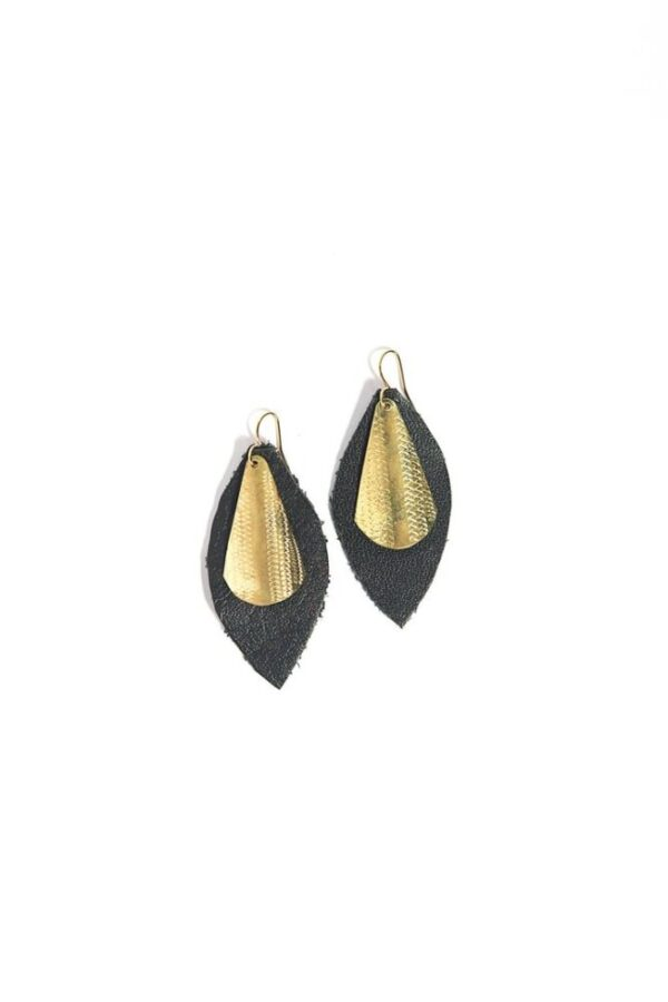 Beautiful Dance With Me Leather Earrings in sustainably-sourced black leather and brass.