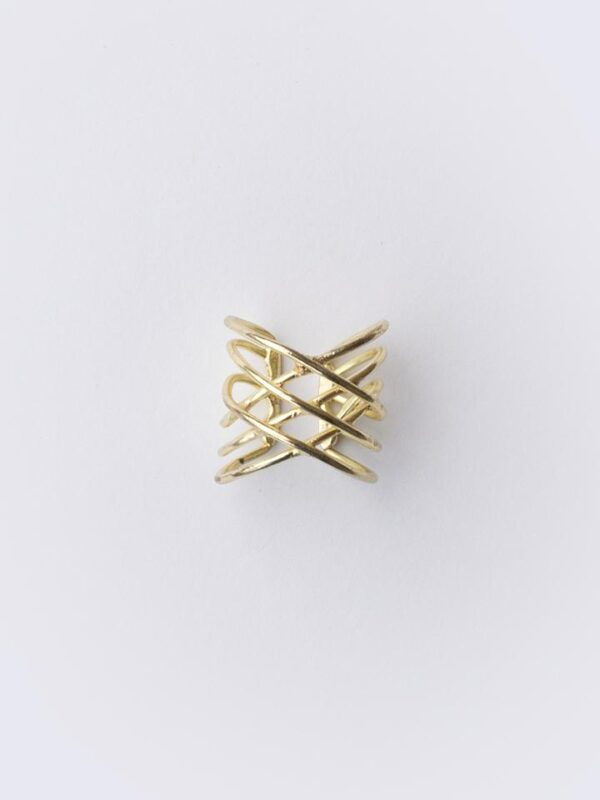 Ethically-made oval infinity ring made of layered gold-coated brass design on white background.