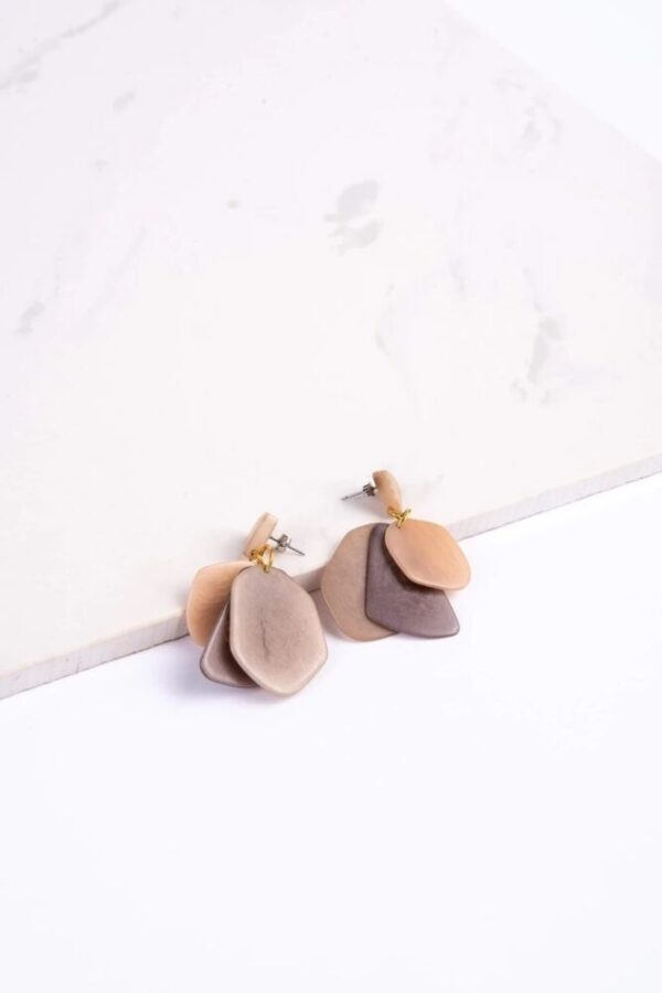 Ethically made Neutral colored Stone Treasure dangling earrings made of Tagua Seeds.