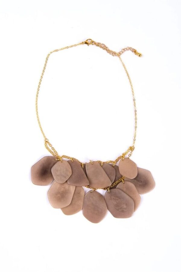 Ethically made stone treasure necklace made with adjustable brass chain and lobster clasp.