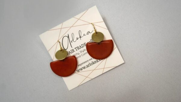 Environmentally friendly dangling Tagua Disc Earrings Made with half circle Red Tagua and gold-colored round brass.