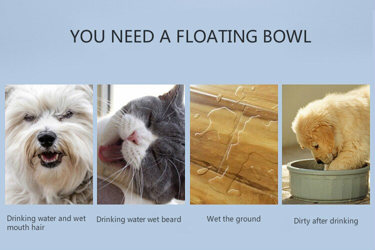 Anti-Spill Dog Automatic Drinking Bowl Water Anti-choke Dog Cat Floating Plate Drink Bowl Keep Dry Portable Detachable Pet Bowls